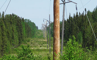 Transmission lines near Slate Falls First Nation