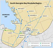 Map of South Georgian Bay/Muskoka region