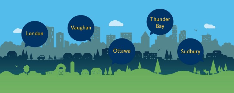 Regional Electricity Forums banner with an illustration of rural, suburban and urban landscapes and the name of four cities listed above it: London, Ottawa, Thunder Bay and Sudbury.