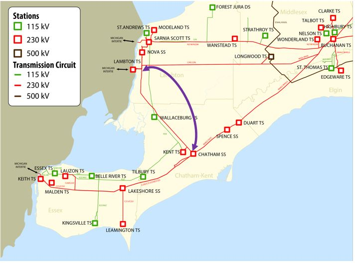Map showing transmission lines and switching station in Southwest Ontario